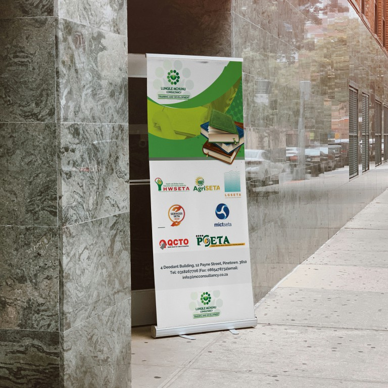 Free Outdoor Advertising Standing Banner on Road Banner Mockup PSD